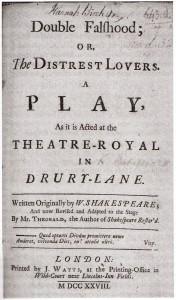 Titelseite der Erstausgabe von DOUBLE FALSEHOOD (Entnommen aus der Arden-Ausgabe)
