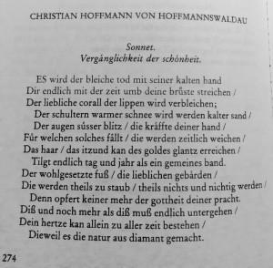 Hoffmannswaldau VERGÄNGLICHKEIT DER SCHÖNHEIT