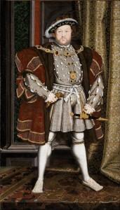 Ließ sich gern breitbeinig malen: Heinrich VIII. von England (Bild aus der Werkstatt Hans Holbeins des Jüngeren, von www.en.wikipedia.org)