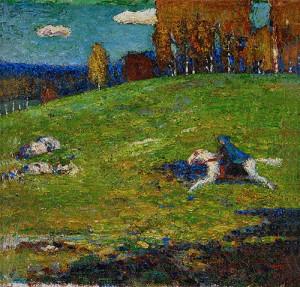 Obwohl Franz Marc ständig blaue Pferde gemalt hat, stammt das namengebende Gemälde von Kandinsky: DER BLAUE REITER (Bild von www.topofart.com)