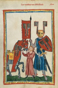 Okay, das ist wirklich Fiktion: Solche Öhrchen, wie im Codex Manege behauptet, hat sich Wolfram bestimmt nicht an den Reithelm geschraubt (Bild von www.de.wikipedia.org)