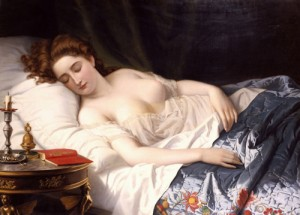 Nein, das ist keine frühe Pornographie, sondern Kultur: IMOGEN, aus der Perspektive des Spanners Iachimo gesehen und von Wilhelm Ferdinand Souchon 1872 gemalt (Bild von www.en.wikipedia.org)