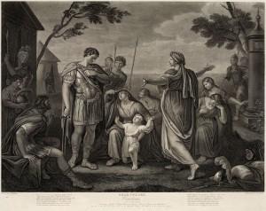 Bei den Historienmalern des 18. Jahrhunderts sieht diese Szene sehr ordentlich aus, aber auf der Bühne... Showdown der Emotionen: Mutter, Frau und Kind knacken den verhärteten Krieger (Bild von www.de.wikipedia.org)