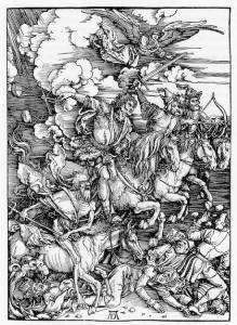 Albrecht Dürer. DIE VIER APOKALYPTISCHEN REITER. (1498)